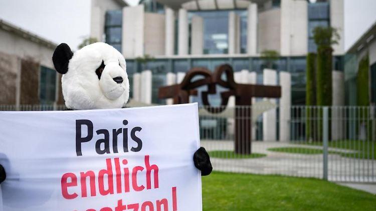 Ein als Panda verkleideter Umweltaktivist hält bei einer Demonstration ein Transparent. Foto: Bernd von Jutrczenka/dpa