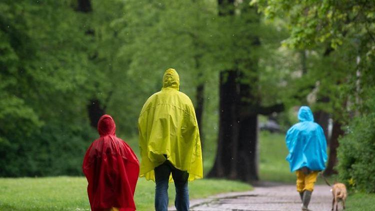 Spaziergänger gehen in bunten Regenmänteln durch einen Park. Foto: Hendrik Schmidt/dpa-Zentralbild/dpa