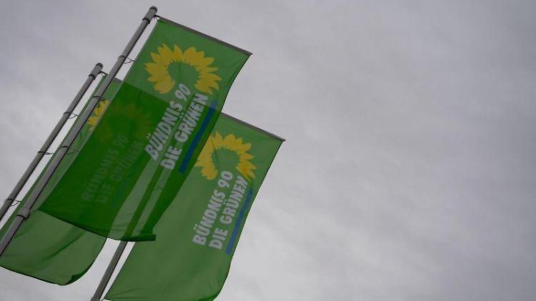 Flaggen mit dem Logo von Bündnis 90/Die Grünen wehen im Wind. Foto: Marijan Murat/dpa/Symbolbild
