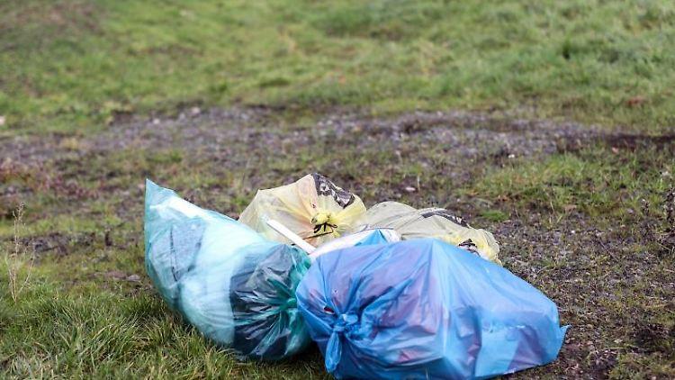 Mehrere Mülltüten liegen abseits einer Straße auf einer Wiese. Foto: Jan Woitas/dpa-Zentralbild/dpa/aktuell