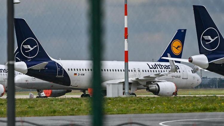 Passagierflugzeuge der Fluggesellschaft Lufthansa stehen auf einem Flughafengelände. Foto: Patrick Pleul/dpa-Zentralbild/ZB/Archivbild