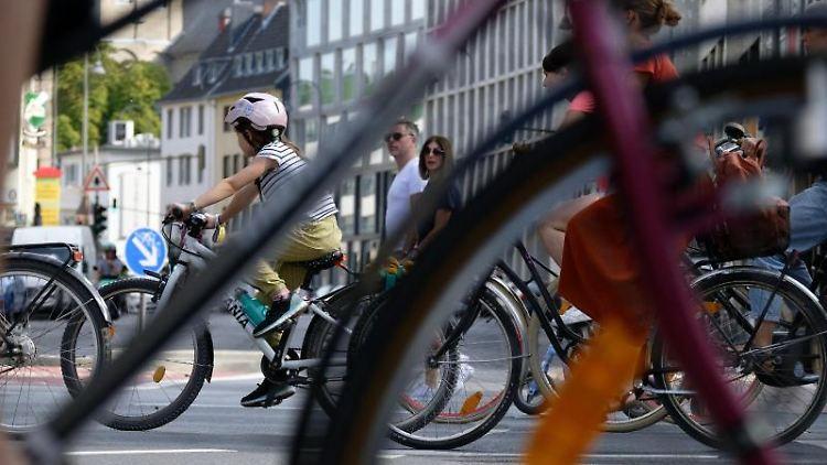 Große und kleine Radfahrer sind auf einer Fahrraddemo. Foto: Henning Kaiser/dpa