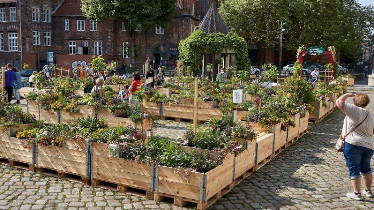 Besucher gehen und sitzen zwischen Blumenkästen des Pop-up-Gartens. Foto: Georg Wendt/dpa/Archivbild