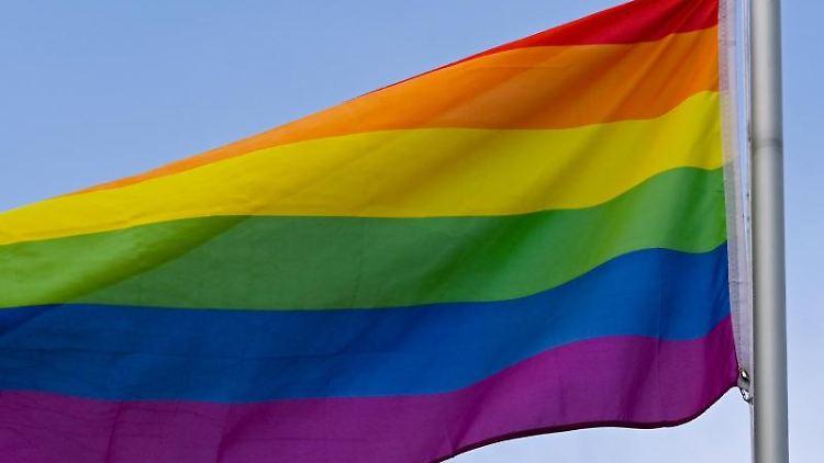 Die Regenbogenfahne weht vor dem blauen Himmel. Foto: Patrick Pleul/dpa-Zentralbild/ZB/Symbolbild