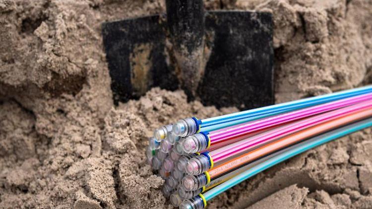 Glasfaserkabel liegen auf einer Baustelle. Foto: Sina Schuldt/dpa/Symbolbild