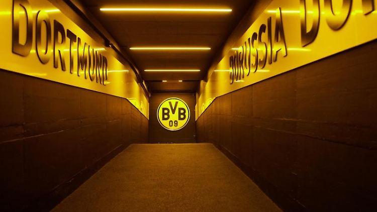 Im Spielertunnel des Signal Iduna Parks hängt das Logo des BVB. Foto: Bernd Thissen/dpa/Archivbild