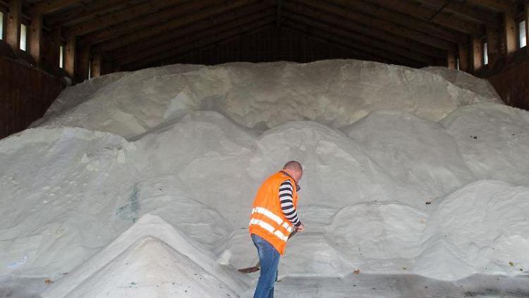 Ein Mitarbeiter einer Meisterei steht in einer Halle vor einem Berg aus Streusalz. Foto: Klaus-Dietmar Gabbert/dpa-Zentralbild/dpa/Archivbild