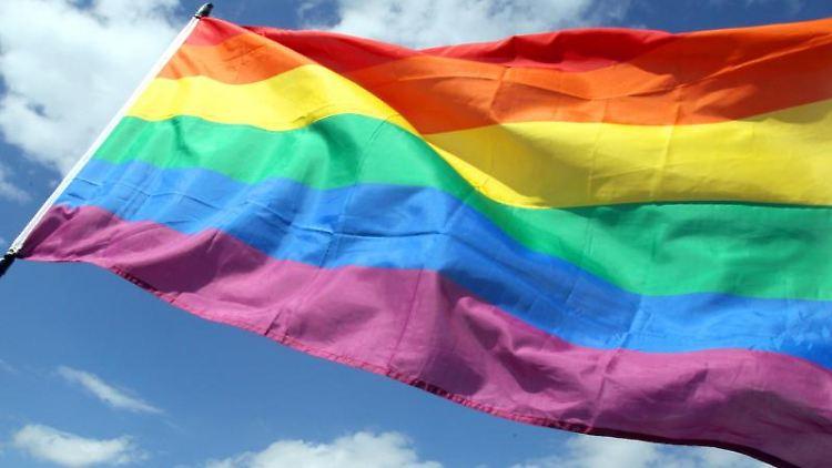 Die Regenbogenfahne weht im Wind. Foto: Wolfgang Kumm/dpa/Symbolbild