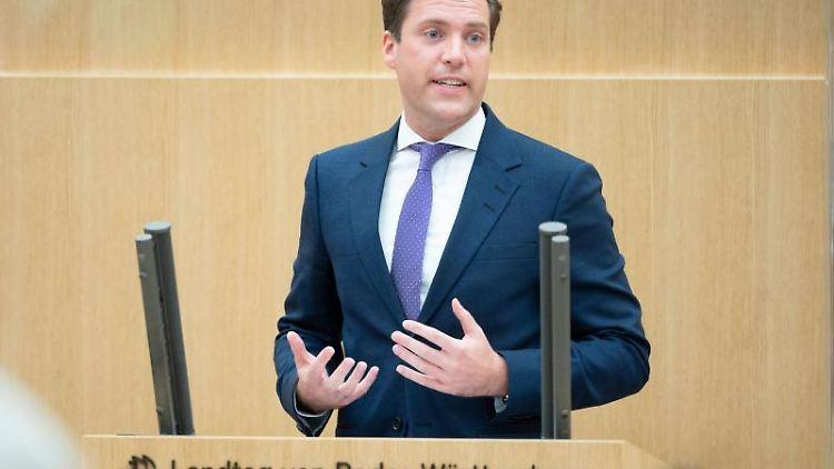 Manuel Hagel (CDU), Vorsitzender der CDU-Fraktion im Landtag von Baden-Württemberg, spricht. Foto: Marijan Murat/dpa