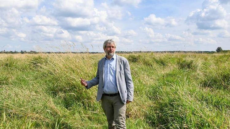 Brandenburgs Umweltminister Axel Vogel (Grüne) steht im Kremmener Rhinluch. Foto: Jens Kalaene/dpa-Zentralbild/dpa