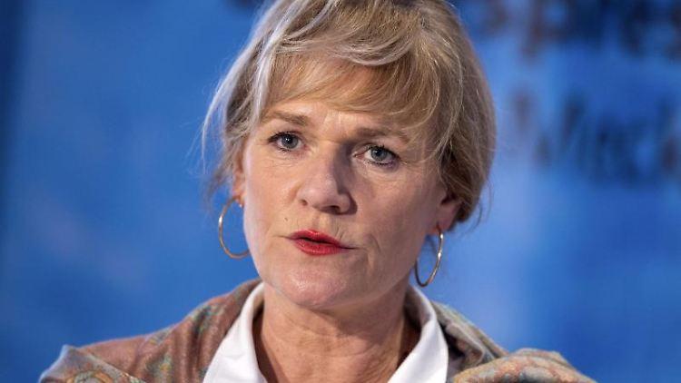 Simone Oldenburg, Fraktionsvorsitzende Die Linke im Landtag von Mecklenburg-Vorpommern, spricht. Foto: Jens Büttner/dpa-Zentralbild/dpa/Archivbild