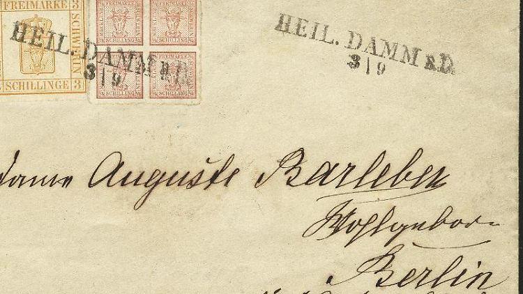 Ein Brief aus dem Ostseebad Heiligendamm, abgeschickt wohl im Jahr 1864. Foto: -/Heinrich Köhler Auktionshaus /dpa/Archivbild