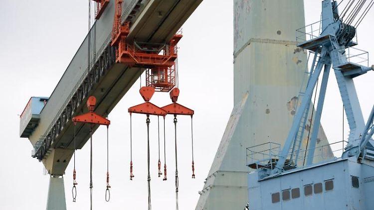Ein Kran steht unbenutzt auf dem Werftgelände. Foto: Jonas Walzberg/dpa/Archivbild
