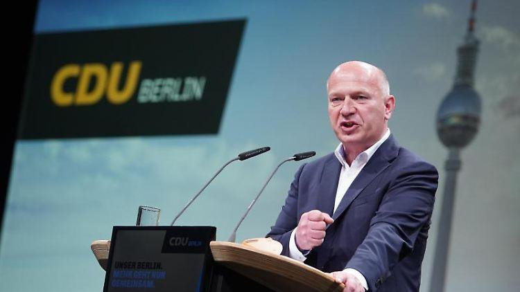 Kai Wegner (CDU), Landesvorsitzender der CDU Berlin und Spitzenkandidat. Foto: Jörg Carstensen/dpa/Archivbild