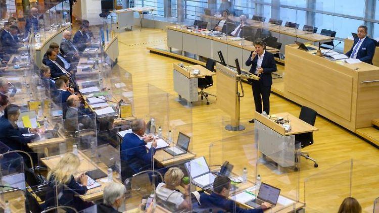 Lydia Hüskens (FDP) spricht im Plenarsaal des Landtages zu den Abgeordneten. Foto: Klaus-Dietmar Gabbert/dpa-Zentralbild/dpa