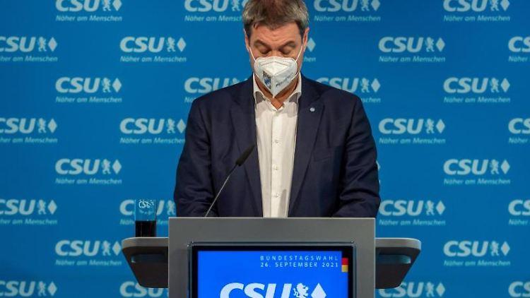 Markus Söder, CSU-Parteivorsitzender und Ministerpräsident von Bayern, spricht. Foto: Peter Kneffel/dpa