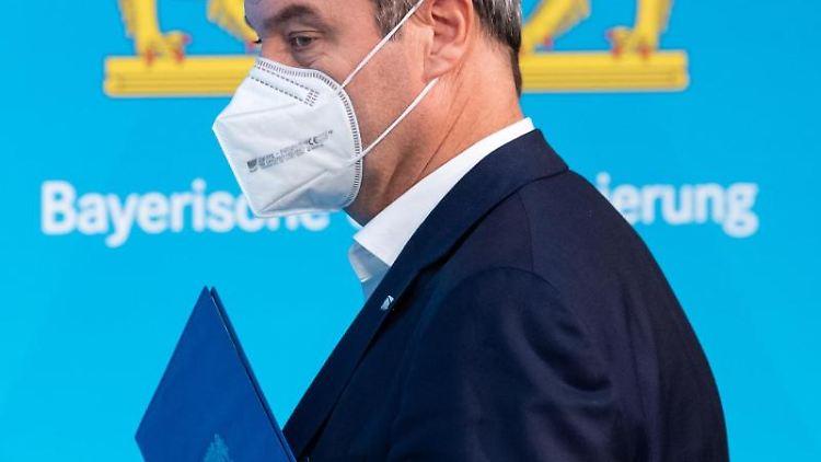 Bayerns Ministerpräsident Markus Söder während einer Pressekonferenz. Foto: Sven Hoppe/dpa