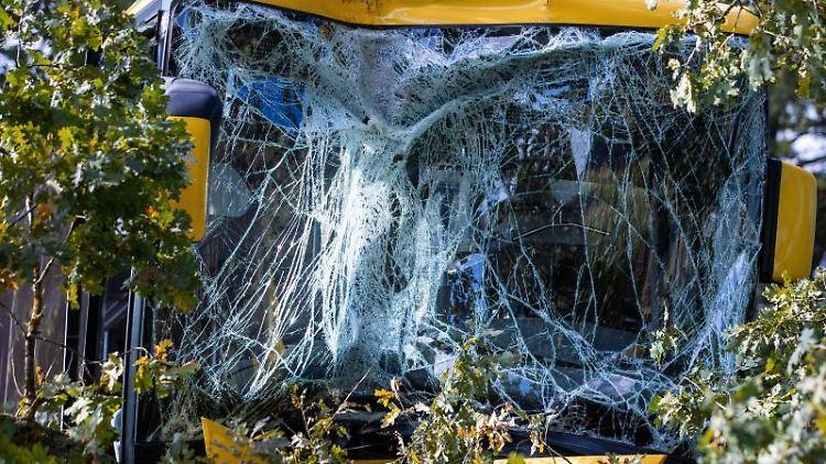 Stark beschädigt steht nach einem Busunfall das Fahrzeug im Straßengraben. Foto: Jens Büttner/dpa-Zentralbild/dpa/Archivbild