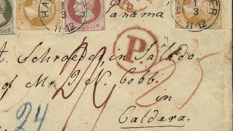 Der 1861 von Hannover aus nach Chile geschickte Auslandsbrief. Foto: Heinrich Köhler Auktionshaus
