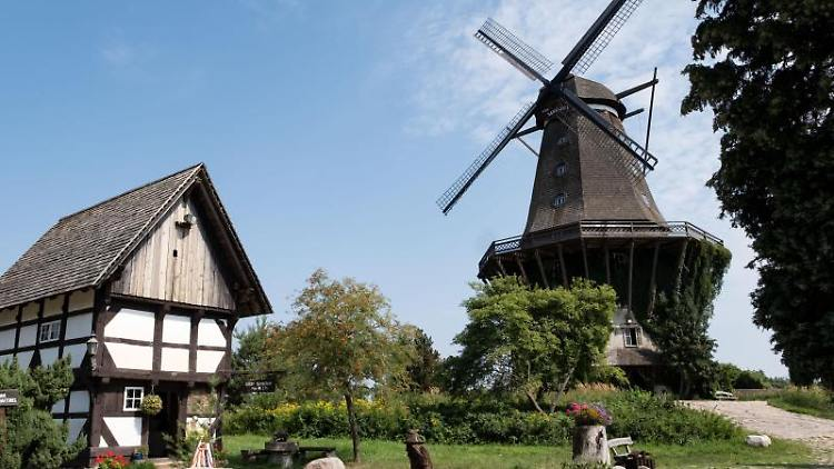 Die Mühle von Sanssouci von 1736 (Bock-Windmühle) im Mühlenmuseum in Gifhorn. Foto: Peter Steffen/dpa