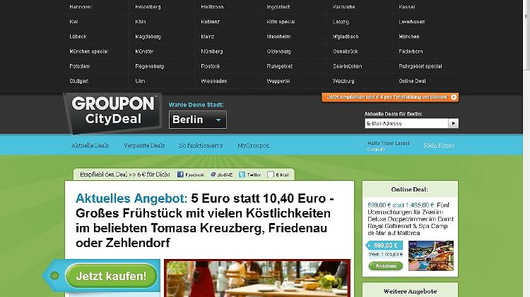 Macht auch in vielen deutschen Städten bereits Schnäppchen-Angebote: Groupon
