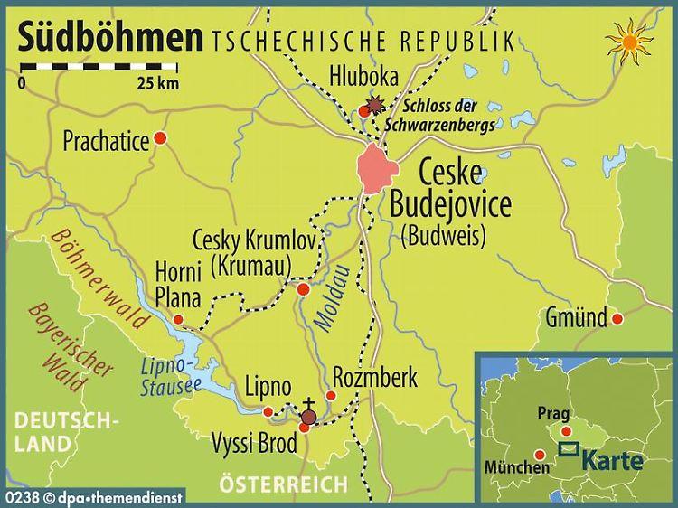 Bildergebnis für südböhmen landkarte