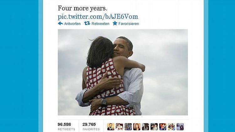 Unmittelbar nach der Entscheidung feierte Obama seinen Wahlsieg auf Twitter und Facebook. Foto: Twitter/dpa