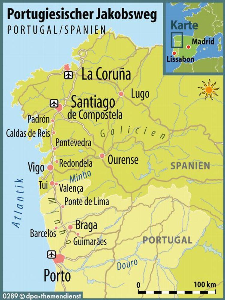 Jakobsweg Spanien Karte.Pilgern Ab Porto Geheimtipp Portugiesischer Jakobsweg N Tv De